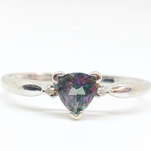 10k White Gold Genuine Mystic Topaz & Diamond Ring